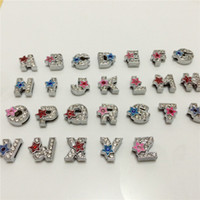 52PCS / Lot 8MM Full Rhinestones Five-Pointed Stars Slide Letters A-Z Alfabeto DIY Slide Charms Fit 8MM Wristbands Pulseiras Cintos SL13