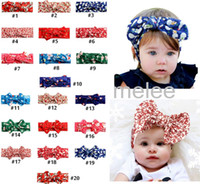 Wholesale Wholesale Silk Xmas Flowers - 20 color Xmas INS Girls Bow Headband Bohemian bunny Hairband lepoard flower deer snowman sant printed Baby Headwrap free ship