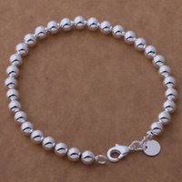 Wholesale Cheap Wholesale Crystal Beads - Free Shipping with tracking number Top Sale 925 Silver Bracelet 6M hollow beads Bracelet Silver Jewelry 20Pcs lot cheap 1599