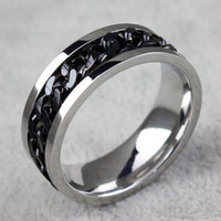 anillos para hombre al por mayor-BC Jewelry Fashion Spinner Chain Ring para hombres Gold Black Silver Stainless Steel Chain Chain Wholesale Mens Jewelry BC-0069
