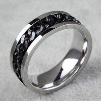 siyah altın yüzük toptan satış-BC Takı Moda Erkekler Için Spinner Zincir Halkası Altın Siyah Gümüş Paslanmaz Çelik Zincir Toptan Erkek Takı BC-0069