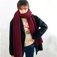Wholesale Winter Mufflers Men - Unisex Women Men Knitted Wool Long Wrap Shawl Scarf Thicker Muffler Scarves Solid Color Women's Scarf 200*33cm 10Pcs Lot
