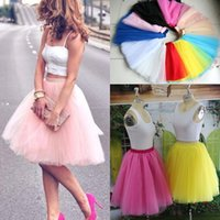 Wholesale Tulle Skirted Cocktail Dress - Real Image Knee Length Skirts Young Ladies Women Bust Skirts Adult Tutu Tulle Skirt A Line Ruffles Skirt Party Cocktail Dresses Summer