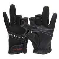 Wholesale Lure Men - Wholesale-High Quality 1Pair Trulinoya Three Fingerless Fishing Gloves Anti-skid Fingerless Fishing Gloves Lure Gloves Fishing Tackle