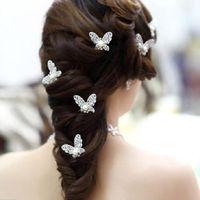 kelebek saç düğün mücevherat toptan satış-Kristal Rhinestone Yapay Inci Kelebek Çiçek Saç Pin Klipler Tokalar Kadınlar Saç Düğün Takı Gümüş