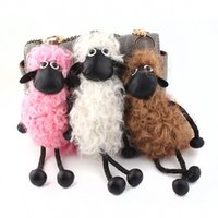 Wholesale Shaun Sheep Gifts - 2017 Hot Sell Sheep Shaun Key chain Pom pom real lambs wool fur genuine keychain Car Key Ring Monster Keychain Jewelry Gift