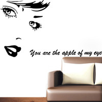 Wholesale Love Design Beauty - Beauty Vinyl Wall Stickers You are the apple of my eye Love quotes Decals Art Mural Room Decor