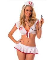 Wholesale Ladies Hot Adult Lingerie - New Arrival Hot Sexy Women Nurse Cosplay Uniform Temptation Adult Game Sexy Lingerie Set Clubwear Ladies Erotic Sleeping Wear
