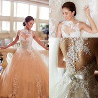 Wholesale Ball Dresses Aline - 2015 Sexy Vintage Luxury Church Veluz Wedding Dresses Ball Gown High Neck Backless See Through Applique Beaded Sash Sheer Bridal Gowns Aline