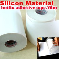 arreglar la cinta al por mayor-Venta al por mayor-5M de longitud / lote, 24 cm de ancho Hot fix paper tape Silicon adhesivo de hierro en película de transferencia de calor super HotFix rhinestone herramienta de bricolaje