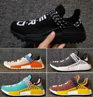 Discount Mens Yellow Sneakers Pas Cher-2018 NMD Race Humaine Pharrell Williams Hu NMD_TR Chaussures Sport Chaussures de Course discount Athletic mens Outdoor Boost Formation Sneaker Taille 36-47