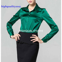 Wholesale Ladies Office Blouse Xl - S-XXXL women Fashion silk satin blouse button ladies silk blouses shirt casual office Green White Black long sleeve satin top