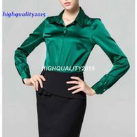 Wholesale Women Long Sleeve Silk Blouse - S-XXXL women Fashion silk satin blouse button ladies silk blouses shirt casual office Green White Black long sleeve satin top