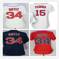 Wholesale Girls Navy Shirt - 2017 Women Boston Jerseys 34 David Ortiz 15 Dustin Pedroia Ladies Girls Stitched Baseball Shirts Red White Navy,Size S-XXL