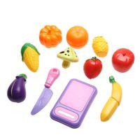 Wholesale toy cutting fruits vegetables - Wholesale- 11pcs Set Plastic Kitchen Fruit Vegetable Cutting Kids Pretend Play Educational Toys Set For Children Kids Baby Toys