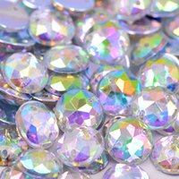 Wholesale Crafts Rhinestones For Decorations - Wholesale-12mm Clear AB Crystal Rhinestone Sew On 2 Holes Acrylic Flatback Gems Strass Crystal and Stones For Dress Crafts Decorations