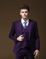 Wholesale Purple Pinstripe Pants - New arrival Customized Handsome Wedding Suits Purple Tuxedos Notched Lapel Formal suits Business wears Best man suits (Jacket+Pants+Vests)
