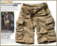 Wholesale Casual Cotton Belts For Men - Hot Selling Solid Color Knee Length Beach Shorts Men's Summer Cargo Shorts For Men (Belt Free)