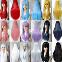 Wholesale Blonde Black Mix Cosplay Wigs - Free Shipping 31.5'' candy colors women heat resistant Pink Brown Black Blue Red Yellow white Blonde Green straight cosplay wigs