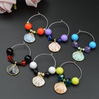 Wholesale Wineglass Charm Rings - 20pcs lot Wineglass Goblet Beads Ring Charm With Scallop Pendant Chain Party Banquet Table Decoration wj042