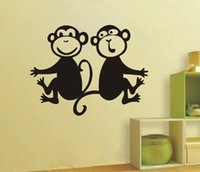 Wholesale Monkey Wall Quotes - Nursery House Home Cute Monkey Decor Decals Sticker Quote Paper for Kid Boy Girl Playroom Bedroom Decoration Wall Stickers
