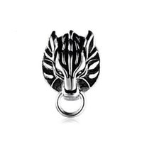 Wholesale Final Animation - Wholesale 925 Sterling Silver Japanese Animation Cool Final Fantasy VII 7 Cloud Cloudy Wolf Metal Clip Earrings For Gift-1PCS