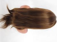 remy haare 14 großhandel-Günstige Remy Full Lace Perücken # 4/27 14