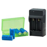 taschenlampen digital großhandel-4 stücke CR123A 16340 Batterien 3,7 V 1200 mah Akku +16340 AC Ladegerät + batteriebox für LED Taschenlampe / Digitalkamera / Laser stift