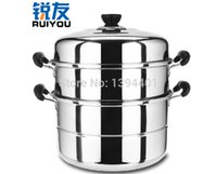 Cheap Wholesale-2015 Cooking Tools Cookware Stainless steel Steamers Thicker material Stockpot 3 layers Cooker Pot