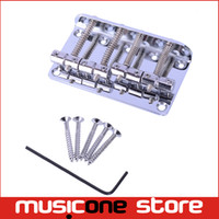 Wholesale Loaded Bass - 1 Set Chrome Vintage 4 String Bass Bridge Length 65mm Bass Fixed Bridge Saddle Top Load MU0635