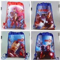 Wholesale Drawstring Backpack Animals - iron Man drawstring bags iron Man backpacks handbags children's school bags kids' shopping bags