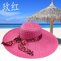 Wholesale Ladies Foldable Travel Hat - Wholesale-Fashion Cute Lady Mesh Travel Sun Hats Summer Foldable Wide Brim Straw Hat Floppy Beach Hat For Women Large Brim Hat With Ribbon