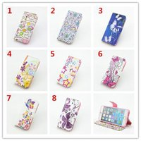 Wholesale Iphone 4s Credit Card Pouch - Star Heart Wallet Leather Love Credit Card Flower Butterfly Stand Pouch Case purse Hybrid TPU For iphone 4 4G 4S 4TH 5 5G 5S cover Skin 5pcs