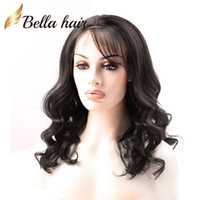 Wholesale Long Wavy Half Wigs - Brazilian Hair Wigs Remy Human Hair Front Lace Wig Wavy Loose Wave Natural Black Color 100% Human Hair Lace Wigs Free shipping Bella Hair