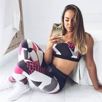 Großhandels-Frauen Anzug sexy Leopard Frauen Trainingsanzüge Sport Anzug Ernte Top BH Fitness Leggings Patchwork Yoga Set Gym Frau Sportbekleidung