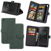 Wholesale Xperia Vintage Case - 9 Cards Multifuntion Retro Matte Leather Case For Sony Xperia L1 E6 Z6 XA1 Ultra XZ Premium XZ1 Compact Vintage Wallet Stand Phone Cover