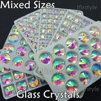 Wholesale Round Crystal Sew Stones - 8mm 10mm12mm 14mm 16mm 18mm Mixed Size Glass Crystals Clear AB Round Rivoli FlatBack Sew On Rhinestones Sewing On Crystal Stone