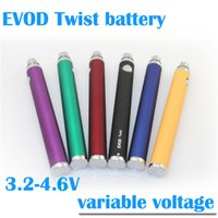 Wholesale Ego Evod Bcc - Top quality EVOD twist variable voltage battery 1300 mAh 3.2 - 4.8V vv evod twist battery fit EVOD BCC MT3 CE4 CE5 e cigarette ego atomizers