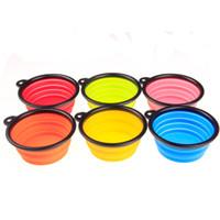 faltschüssel großhandel-Klapp Pet Bowl Rutschfeste Silikon Hundebecken Einfach Zu Reinigen Haustiere Liefert Multi Farben 2 3jr C R