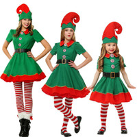 Wholesale women halloween costumes santa - Christmas Elves Costumes Women Christmas Halloween Costume Long Sleeve Green and Red Girl Elf Dress KIDS Christmas Costume