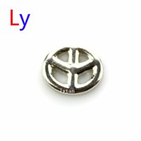 Wholesale Gold Peace Symbol Charm - Silver Peace symbol Floating Charms Locket Memory Living Magnet Glass Floating Locket and Free shipping MFC1188