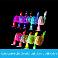Wholesale Otg Lead - Lighting Flexible Cable cables 1M Micro USB Date for Samusng HTC Iphone X 8 7 6 6S Plus 5 5S SE Smartphones LED Luminous Smile Face charger