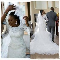 Wholesale Tulle Skirts For Sale - African Mermaid Long Sleeves Wedding Dresses Vintage Custom Made Appliques Bride Lace Train Bridal Wedding 2017 Cheap for sale