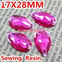 Wholesale Teardrop Flat Back Rhinestones - Wholesale-50pcs bag 17x28mm Teardrop Resin Sew on Rhinestones Flat Back 2 Holes Fuchsia Color For Dress Making,Shoes,Bags