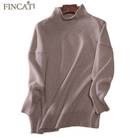 Wholesale high turtleneck sweater - Wholesale- Women Pullover 2017 High Quality Turtleneck Collar 100% Pure Cashmere Soft Skin Friendly Casual Loose Sweaters Pulls Femme