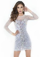 Wholesale Sexy Cocktail Bandage Dresses - Best Selling! 2015 Gorgeous Mini Cocktail Dresses Crew Neck Long Sleeve Rhinestones Crystals Beads White Short Prom Gowns Custom Made 2016