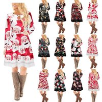 Wholesale Swing Dress Wholesale - Christmas Long Sleeve Party Mini Dresses Santa Claus Snowman Xmas Patchwork Swing Flared Printed Skater Dress 12 Styles OOA3460