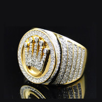Wholesale Crown Rings For Men - SIZE 8-10 ring for men factory direct selling bling bling iced out hip hop jewelry micro pave big mens crown shape gold ring