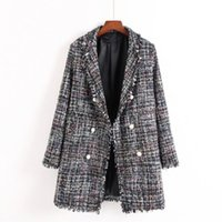 Wholesale Women S Rayon Blazers - 2017 Euro Style Women's OL Autumn Winter Pearl Buttons Blazer High Quality Notched Collar Long Tweed Jacket Open Stitch Outwear