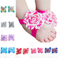 Wholesale Top Baby Flower Sandals Shoes - New arrival TOP BABY Sandals baby Barefoot Sandals Foot Flower Foot Ties girls Toddler Shoes kids foot flower wrist flower 20pairs